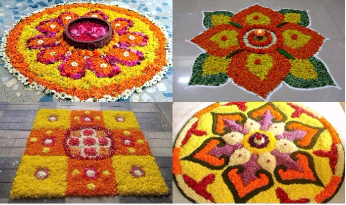 Rangoli designs with marigold flower