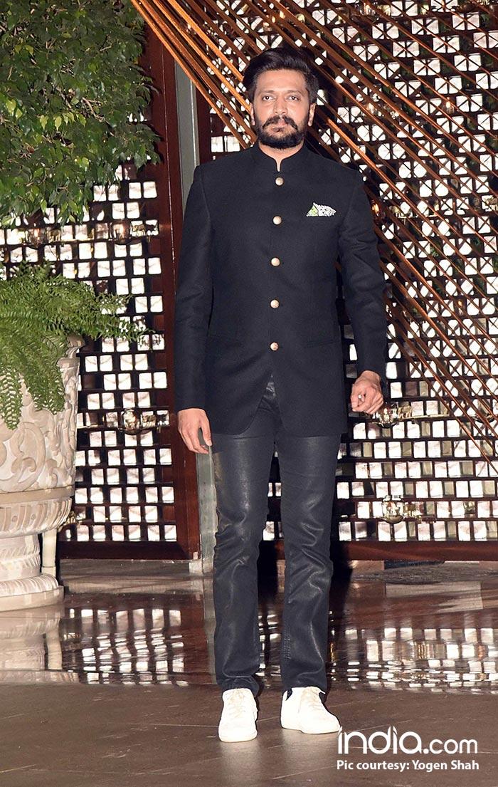 Riteish Deshmukh looks great in a black bandhgala suit