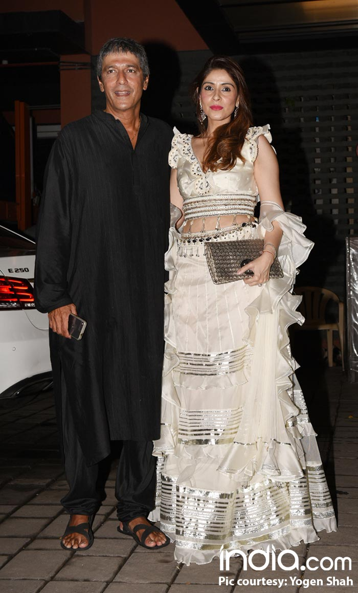 Chunky Pandey with his wife at Arpita Khan's birthday bash