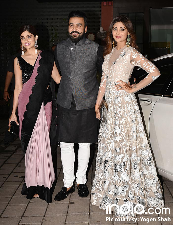 Raj Kundra, Shila Shetty Kundra and Shamita Shetty at Arpita Khan's Diwali bash