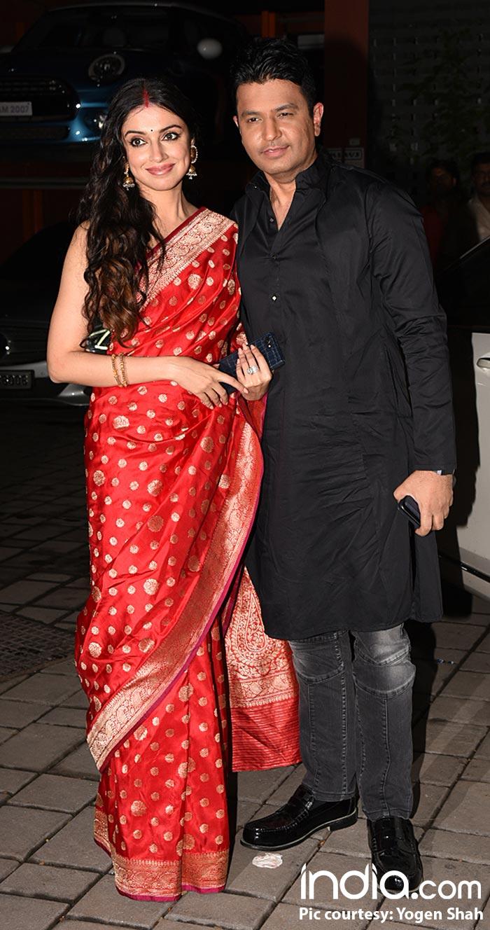 Bhushan Kumar and Divya Khosla Kumar at Arpita Khan's Diwali bash