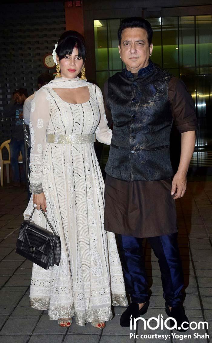 Sajid Nadiadwala wife wife at Arpita Khan's diwali bash
