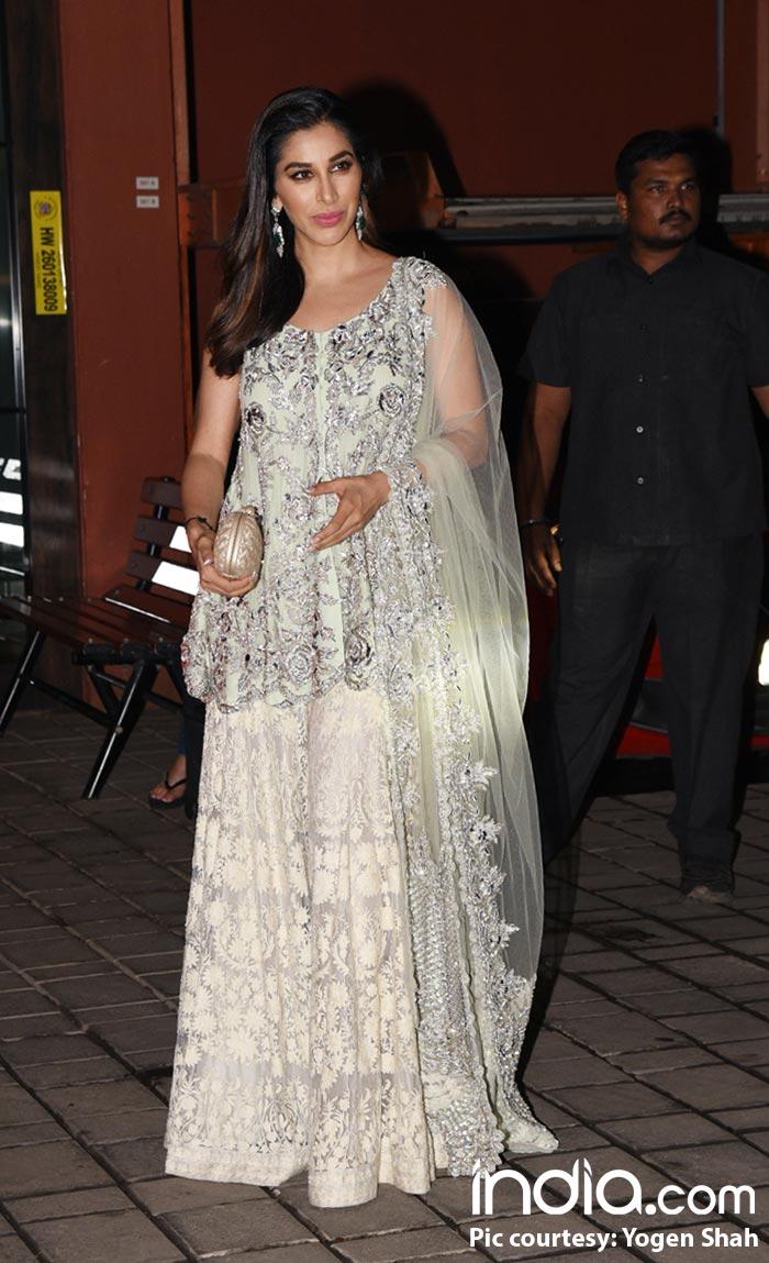 Sophie Choudry in white at Arpita Khan's residence for Diwali bash