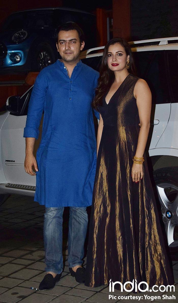 Dia Mirza with her husband, Sahil Sangha at Arpita Khan Diwali bash