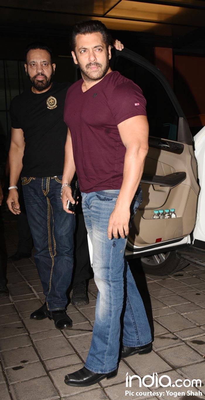 Salman Khan in a casual tee and blue denims at sister Arpita Khan's residence