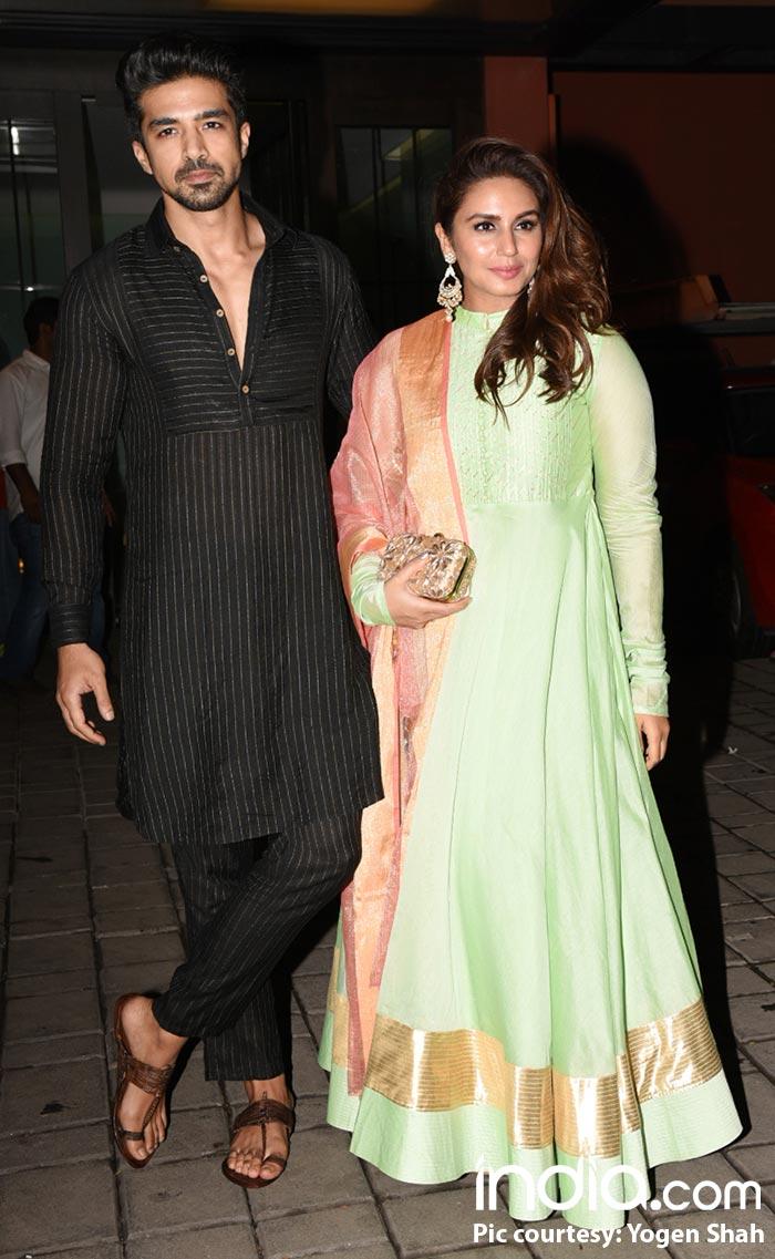 Brother-sister duo, Huma Qureshi and Saqib Qureshi at Arpita Khan's Diwali bash