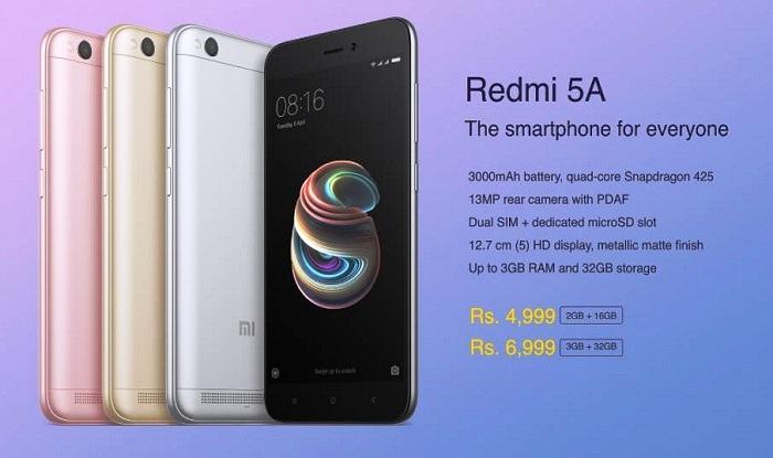 Xiaomi Redmi 5A Features:13-Megapixel Camera, 8-Day ...