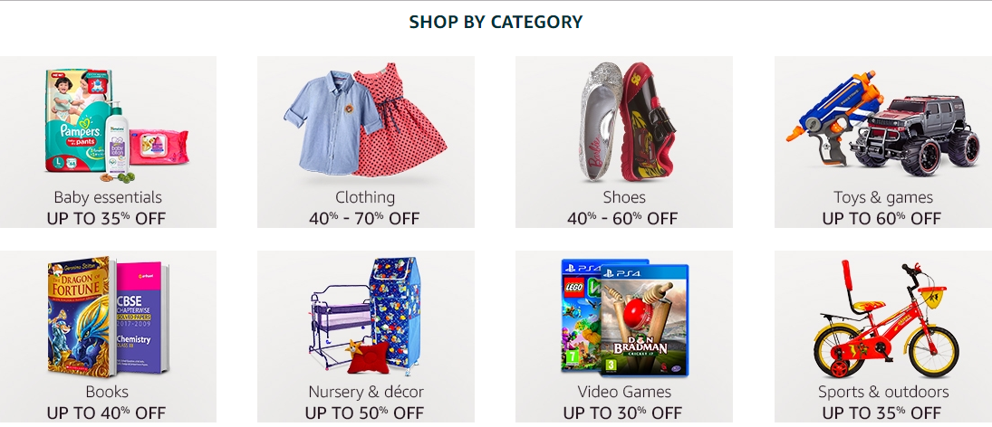 954e7c9f2b4 The Amazon sale also offers flat 50% off on Kids and mothercare. Amazon is  also offering great deals on kids    baby products under the three day ...