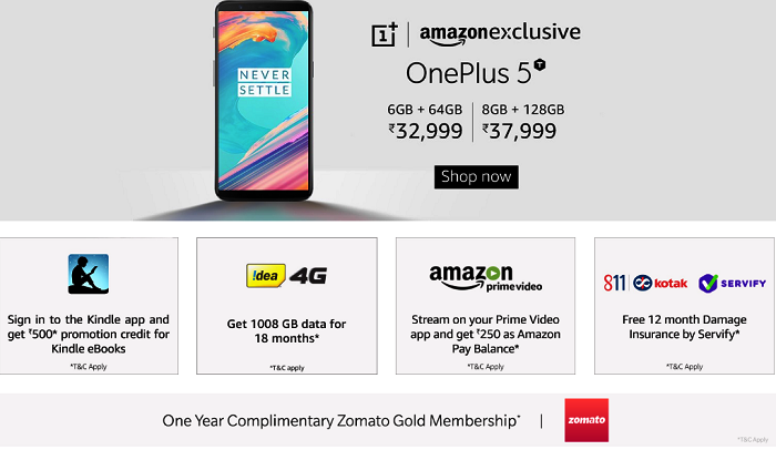 OnePlus 5T Open Sales Start in India, via Amazon and OnePlus Store