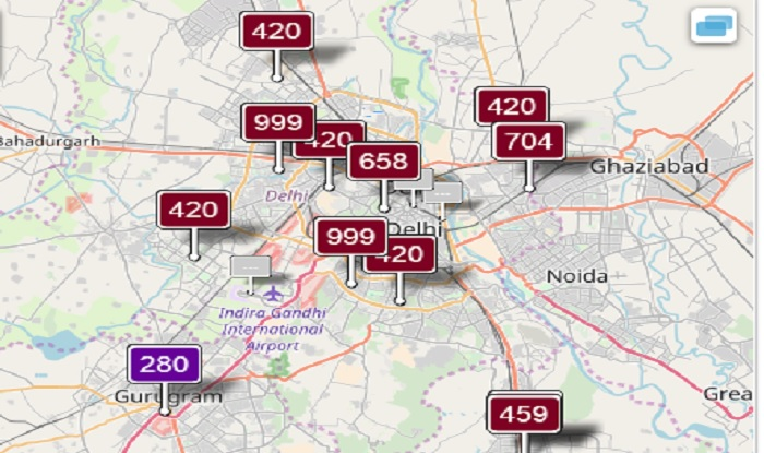 Pollution levels in Delhi as on Nov 7 at 11:35 am (aqicn)