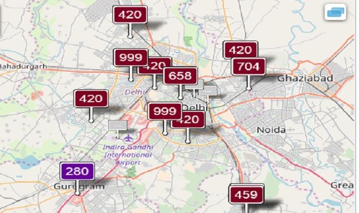Pollution levels in Delhi as on Nov 7 at 11:35 am (aqicn)