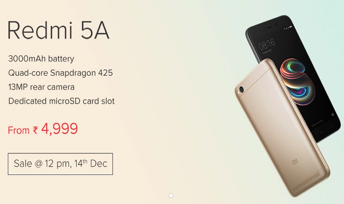 Xiaomi Redmi 5a Goes On Sale Today On Flipkart And Mi Com
