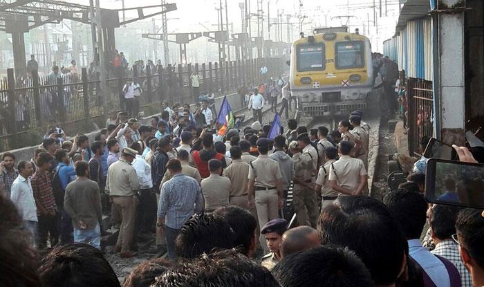 Protesters block rail traffic in Mumbai
