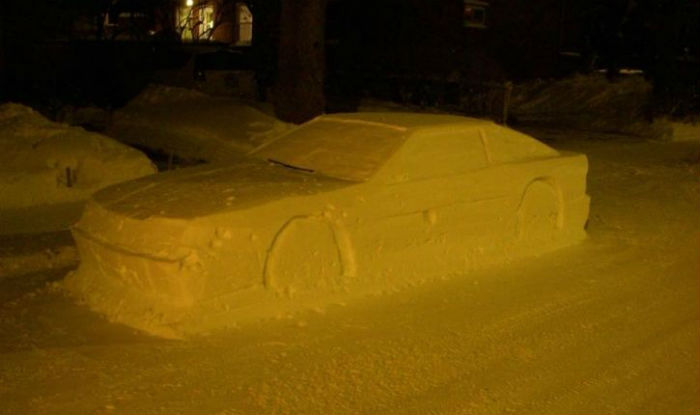 Canadian Man Tricks Police By Making Snow Car And Even