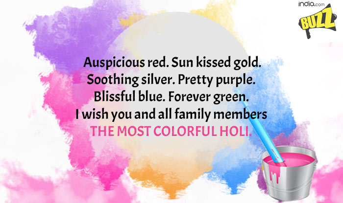 auspicious red sun kissed gold soothing silver pretty purple blissful blue forever green i wish you and all family members the most colorful holi
