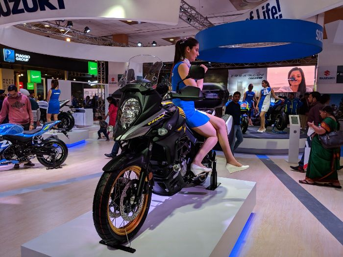 suzuki v strom 650 unveiled at auto expo 2018 see images. Black Bedroom Furniture Sets. Home Design Ideas