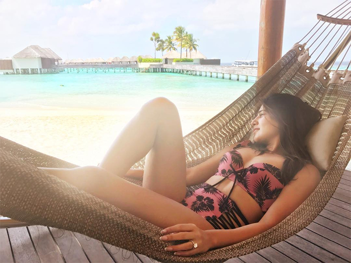 Samantha Akkineni relaxing on a beach in bikini
