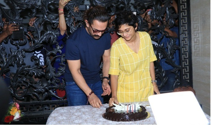 Aamir Khan Cuts His Birthday Cake With Wife Kiran Rao And Son Azad