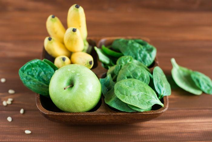 Apple, banana and spinach