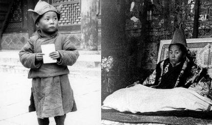 दलाई लामा 4 वर्ष की उम्र में और सिंहासन समारोह के दौरान. (फोटो साभारः दलाईलामा.कॉम)
