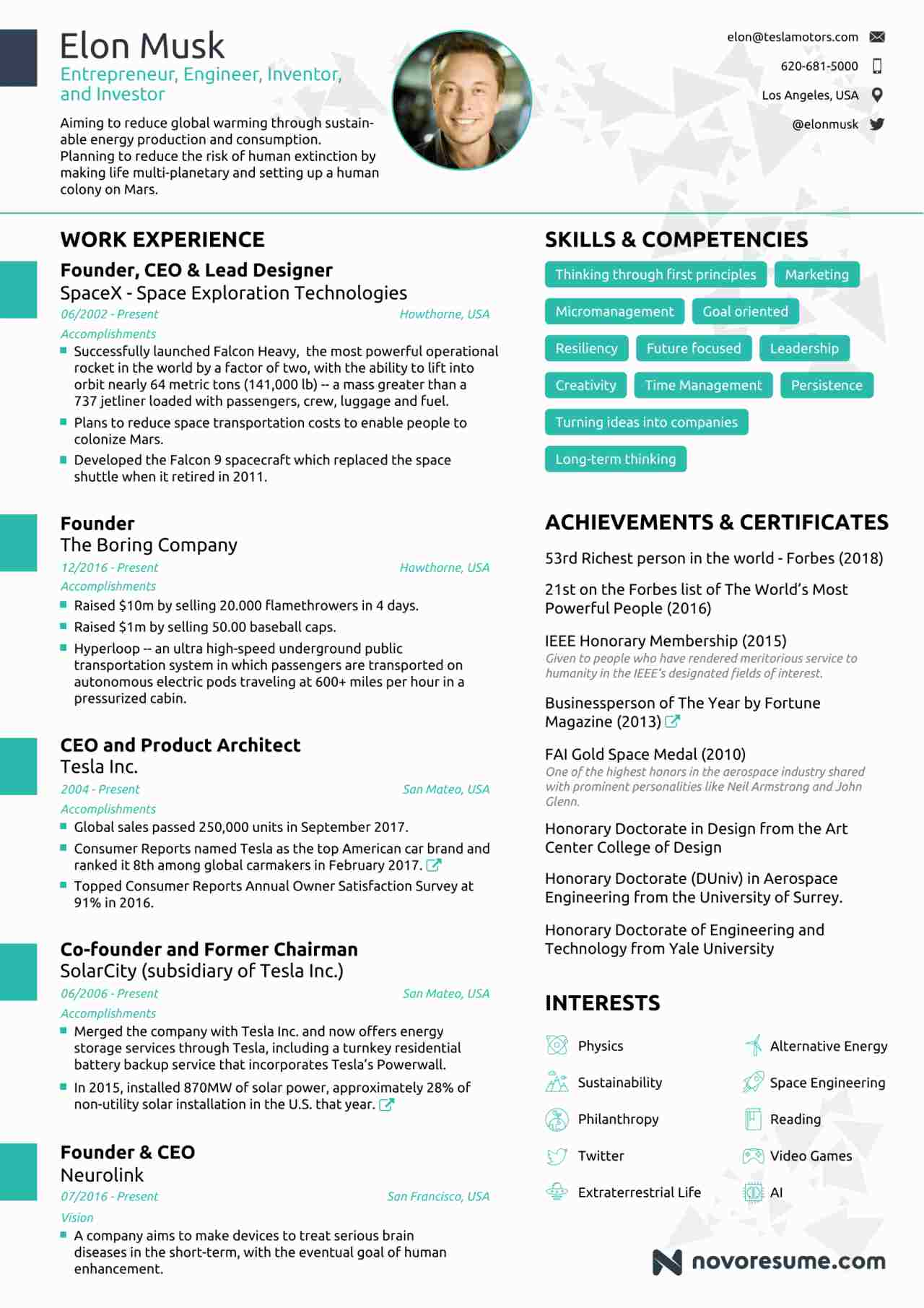 elon musk resume  take lessons from tesla owner u0026 39 s cv on how to make your cv