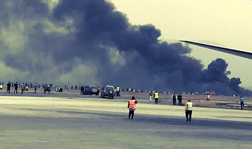 Thick, black smoke was seen billowing out from the plane which crash-landed in Kathmandu.