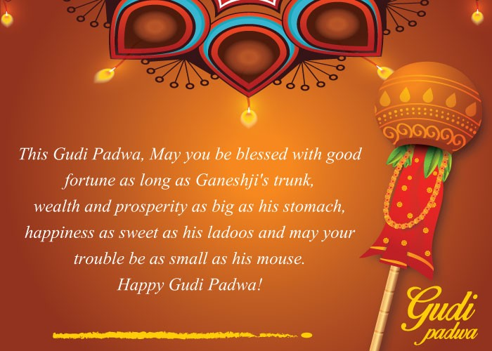 Gudi padwa 2018 best wishes whatsapp messages facebook status messages on this auspicious occasion of gudi padwa may you be endowed with happiness prosperity and success happy gudi padwa m4hsunfo