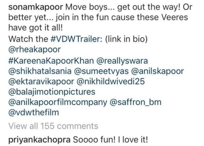 Priyanka Chopra reaction Sonam Kapoor Veere Di Wedding Trailer
