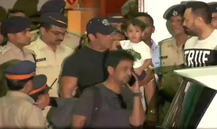 Salman Khan arrives in Mumbai. (ANI)
