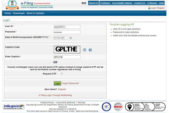 Login details for e-filing