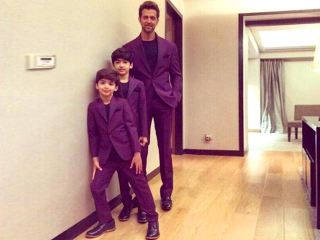 Hrithik Roshan with his two sons
