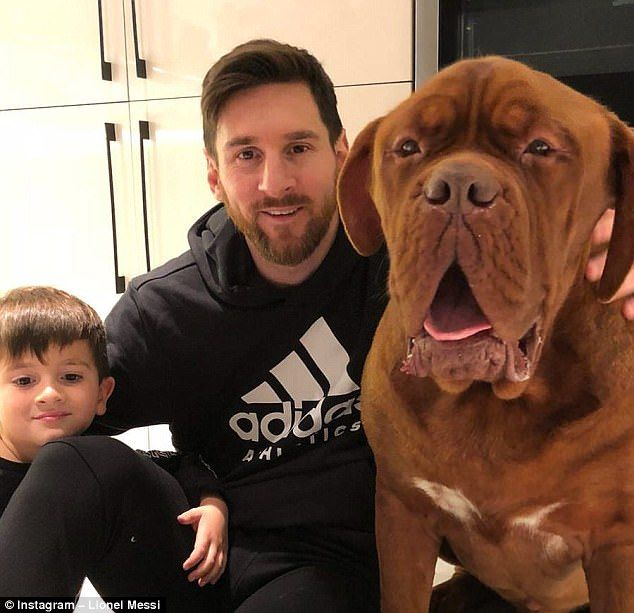 Messi with pet dog and son Thiago