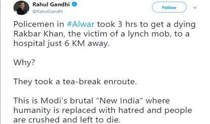 Rahul Gandhi's Tweet on Alwar Mob Lynching