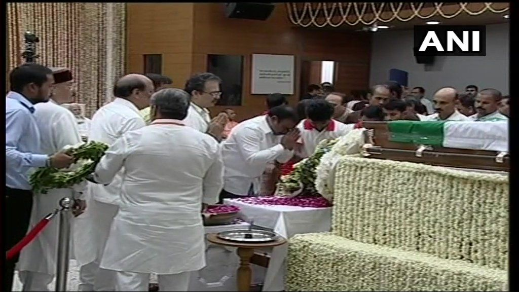 DMK leader A Raja, Assam CM Sarbananda Sonowal and Manipur CM N Biren Singh pay last respects at BJP Headquarters.