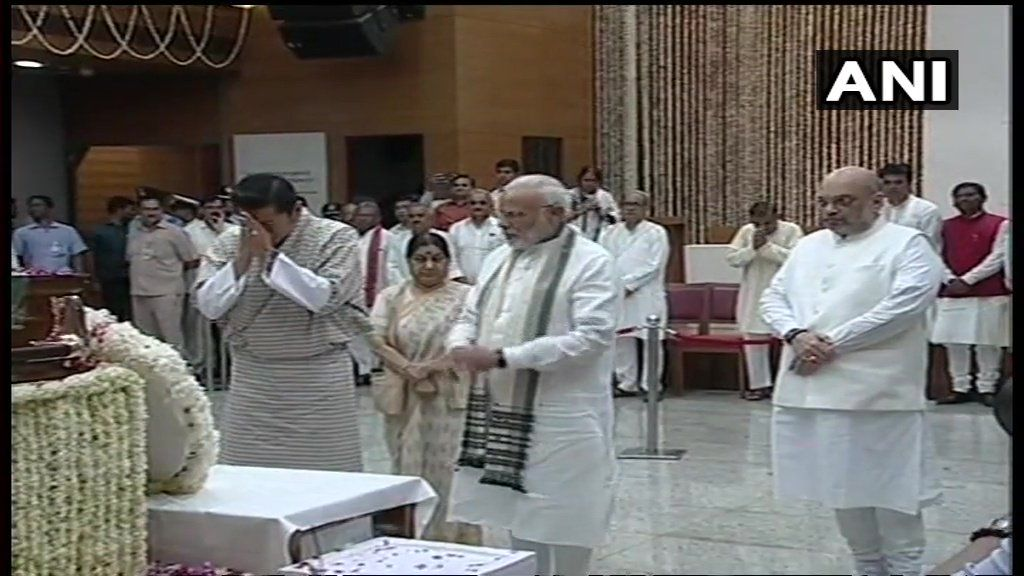 King of Bhutan Jigme Khesar Namgyel Wangchuck pays tribute to Vajpayee at BJP Headquarters. Prime Minister Narendra Modi, Sushma Swaraj and Amit Shah were also present.