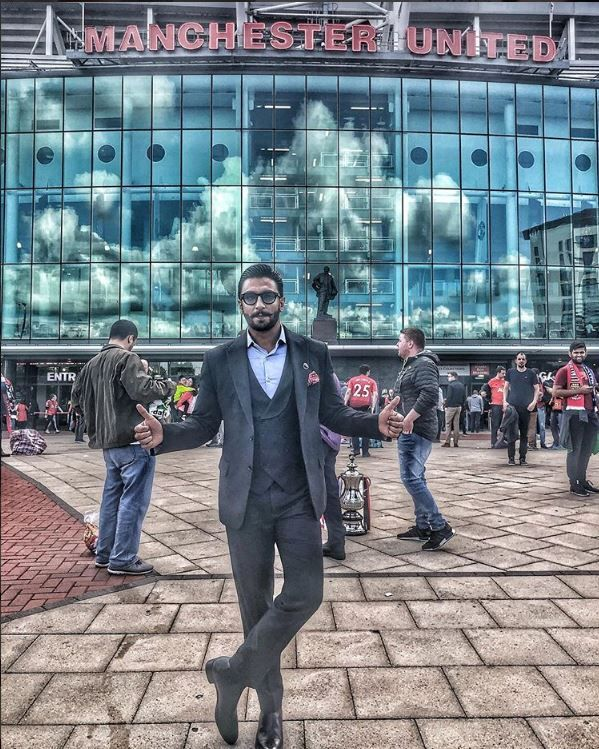 Ranveer Singh at Old Trafford stadium