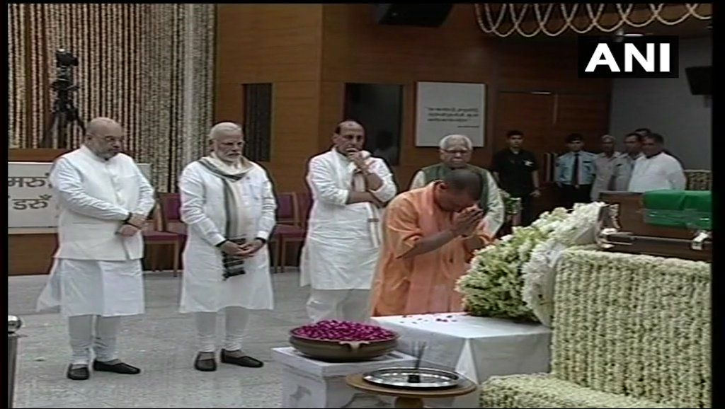 UP Chief Minister Yogi Adityanath and Governor Ram Naik pay last respects at BJP Headquarters.