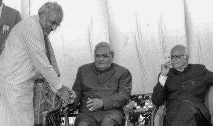 Former Prime Minister Atal Bihari Vajpayee and BJP leader LK Advani with the then Gujarat CM Narendra Modi (standing)