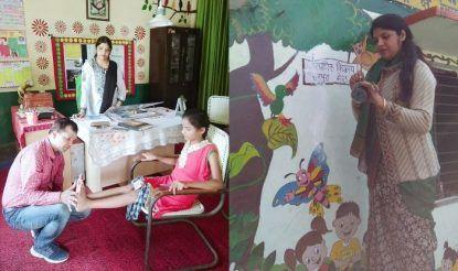 स्कूल में दिव्यांग बच्चों को ठीक किए जाने का प्रयास भी हो रहा है. टीचर पुष्पा ने खुद दीवारों पर ड्राइंग की.