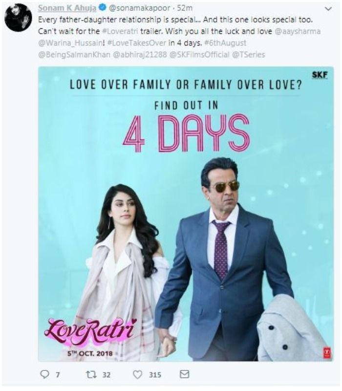 Loveratri: Sonam Kapoor Gives A Thumbs Up For The New Poster Of Aayush Sharma - Warina Hussain's Film