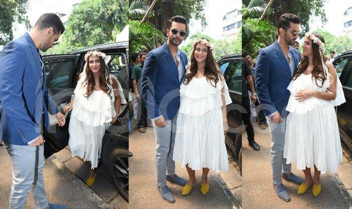 Neha Dhupia Baby Shower Pics Actress Dresses Like Greek Goddess And