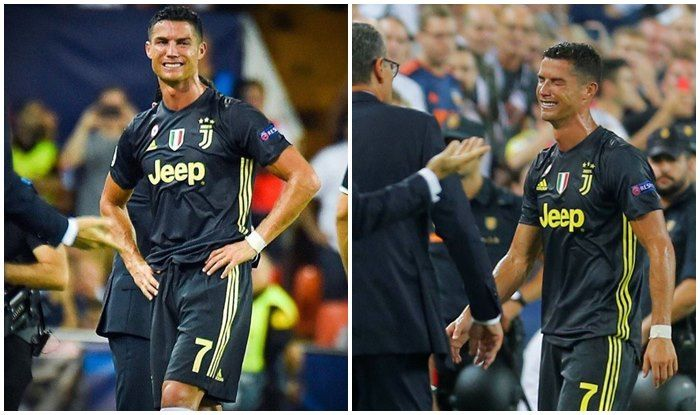 9a3d05bfafe Cristiano Ronaldo Shown Red Card on Champions League Debut For ...