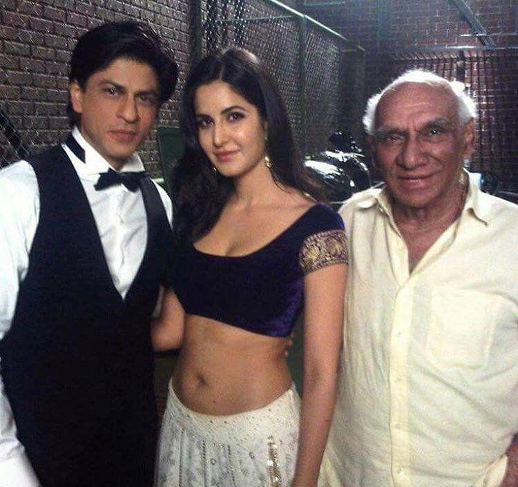 Shah Rukh Khan with Katrina Kaif and Yash Chopra on the sets of Jab Tak Hai Jaan