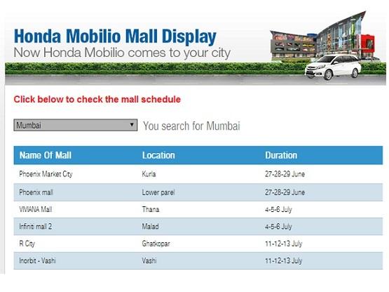Honda Mobilio India Launch Honda Starts Displaying Mobilio In Malls