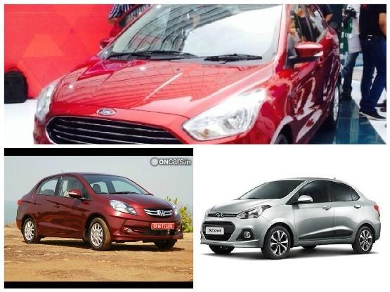 Ford Figo Aspire Vs Honda Amaze Vs Hyundai Xcent Specs Features