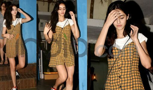 Ananya Pandey Wears A Yellow Mini Dress With Check Details