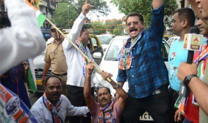 MNS workers staging protest in Mumbai