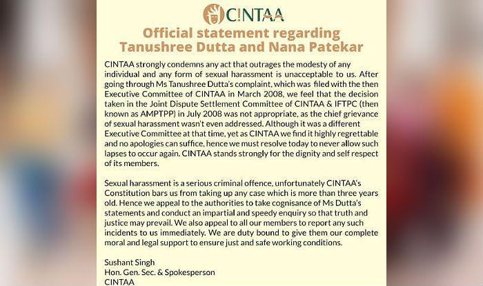 Statement from CINTAA in The Tanushree Dutta-Nana Patekar case