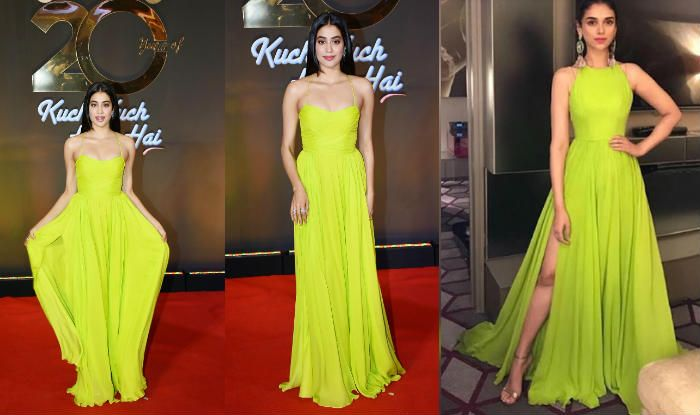 Janhvi Kapoor's Sexy Shehlaa Gown is a Copy of Aditi Rao Hyadri's Lime Green Gown Designed by Swapnil Shinde; See Pics