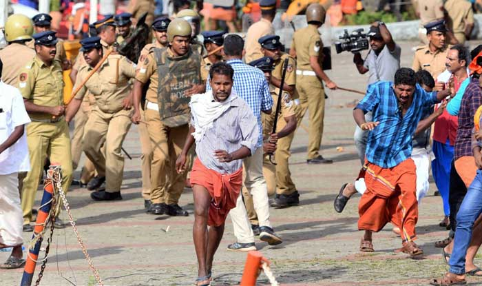 Police lathi-charge on the protestors after they opposed the entry of girls and women of menstrual age into the hill shrine of Lord Ayyappa Temple